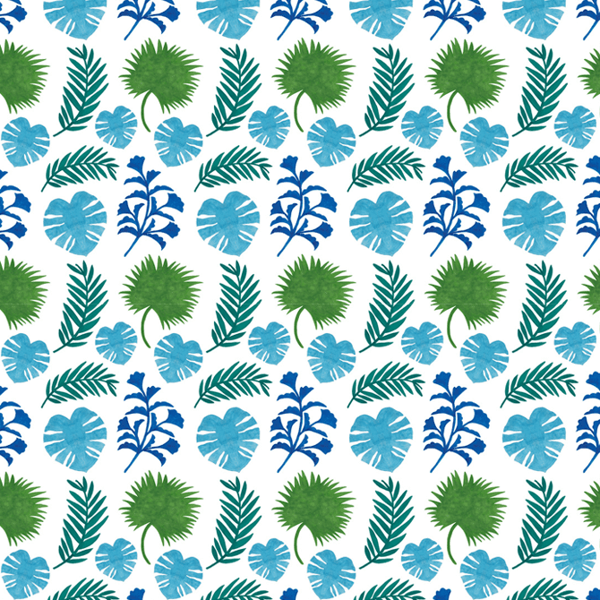 The Palm Leaves Pattern Watercolor Illustration by Haidi Shabrina