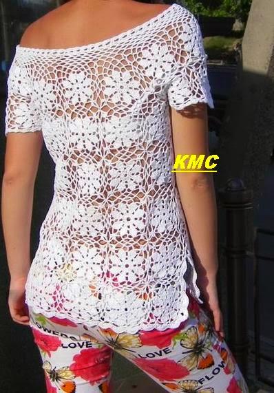 Blusa de dama de diseño floral mangas cortas al crochet