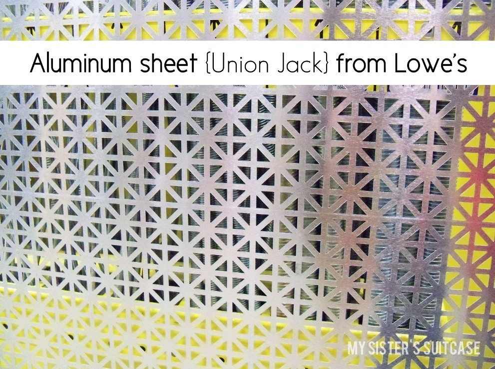 its a 2436 decorative aluminum sheet in union jack pattern it was love at first sight with a name like union jack how could i not buy it - Decorative Sheet Metal