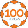 100 reviews badge