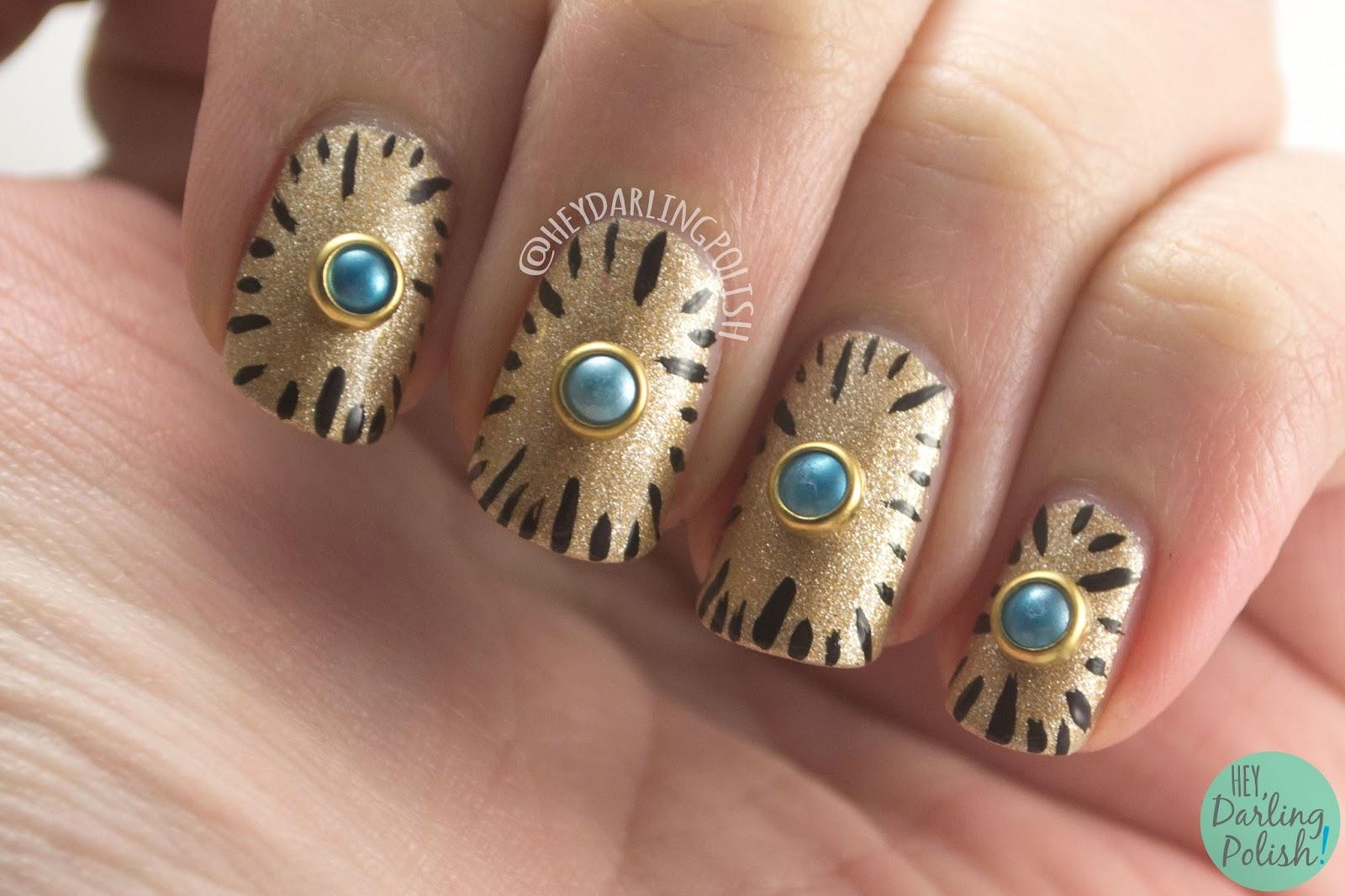 nails, nail art, nail polish, gold, clock, pearl, hey darling polish, nail linkup,