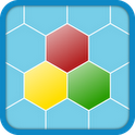The Better Settlers Icon - hexagonal pattern with three coloured hexagons; red at the top, yellow on the lower left and green on the lower right.