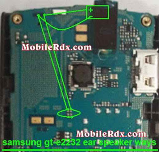 samsung e2232 ear speaker solution 100% ok. Check This line use avo miter if you get any short on this line. repairing this line use copper coil wire.