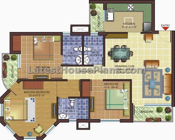 Simple 3 Bhk Apartment Floor Plan Design Latest House