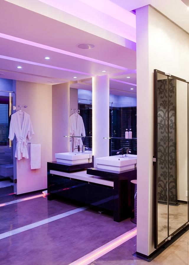 Purple lit up bathroom
