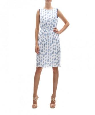 koton desenli beyaz mavi elbise, klasik kesim kolsuz