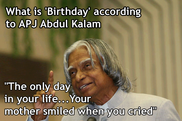 What is Birthday according to APJ Abdul kalam