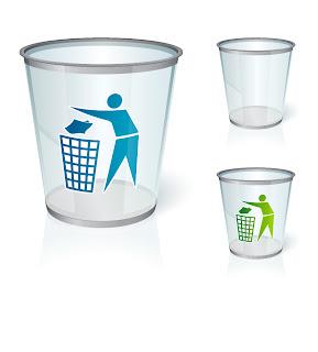 ガラス製のゴミ箱アイコン Glass bin vector graphic