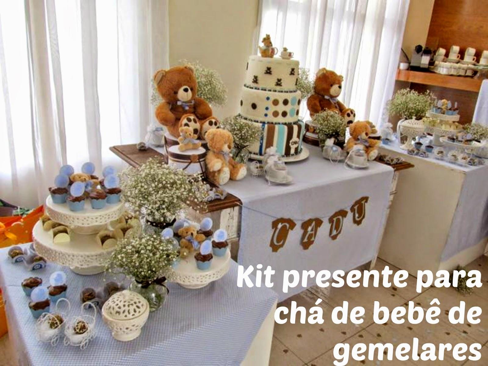 Kit presente para chá de bebê de gemelares