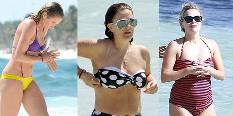 Bikini tabrak warna ala Cameron Diaz