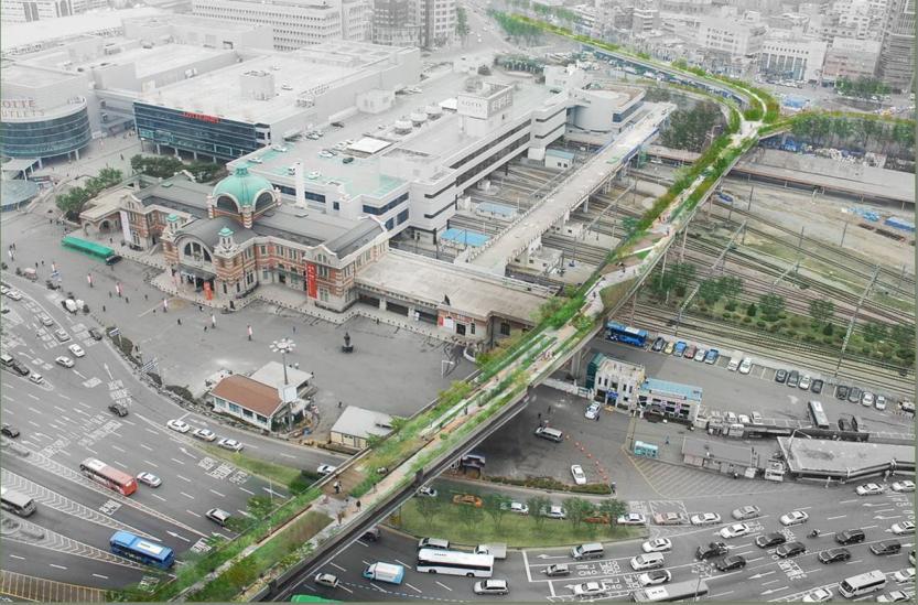Concepto artístico del parque elevado de la Estación de Seúl