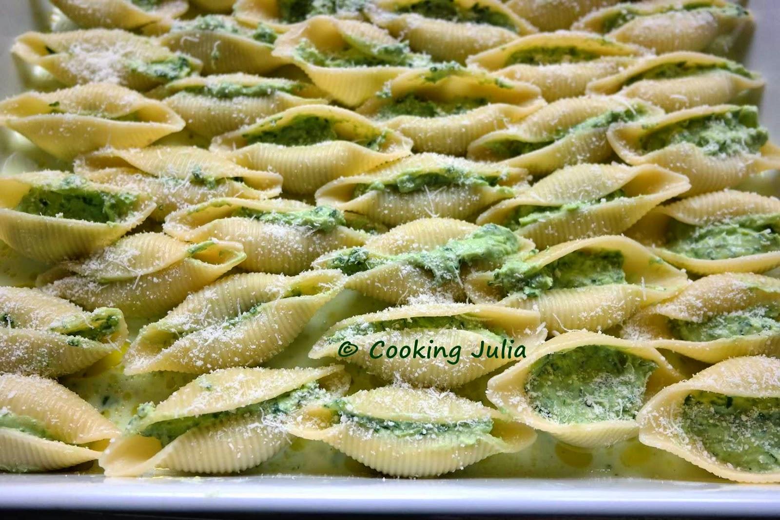 Cooking julia conchiglionis farcis aux pinards et la ricotta - Feuilles de blettes en epinard ...