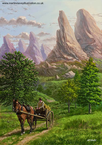 Landscape with man driving horse and cart - digital painting