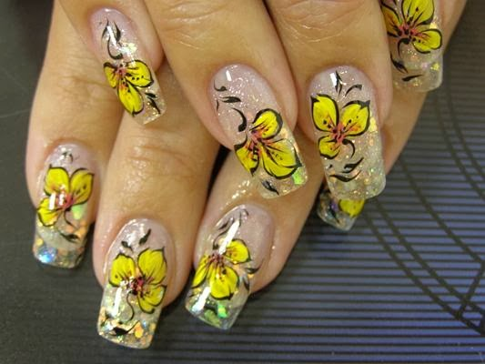 Yellow Nail Art Ideahttp9ailssidespotnail Side