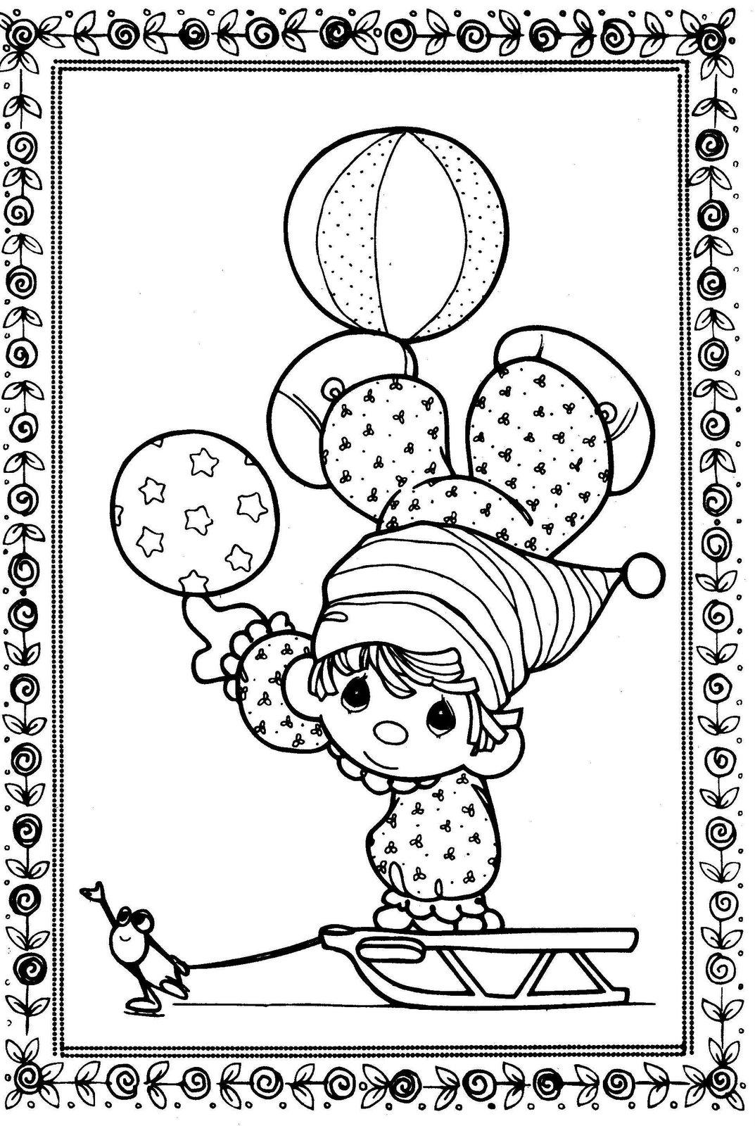 Dibujo de Payasito en trineo de Los Preciosos Momentos para colorear