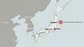 A map of the earthquake that hit Japan