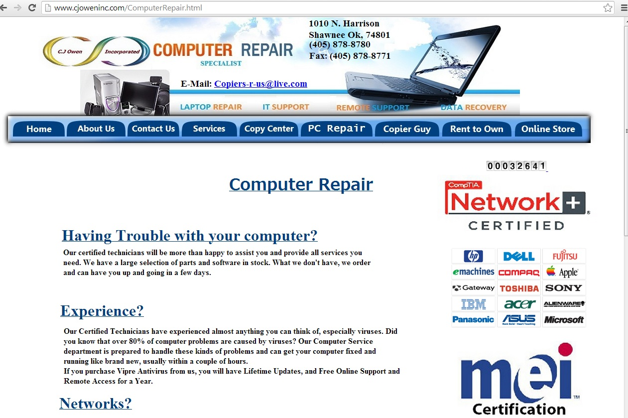 Cj Owen Inc Computer Repair Network It Online Store Online