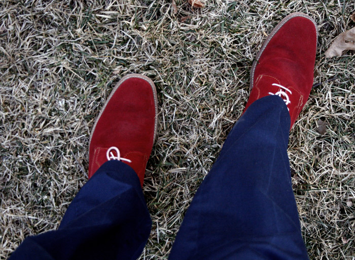 red suede on dead grass