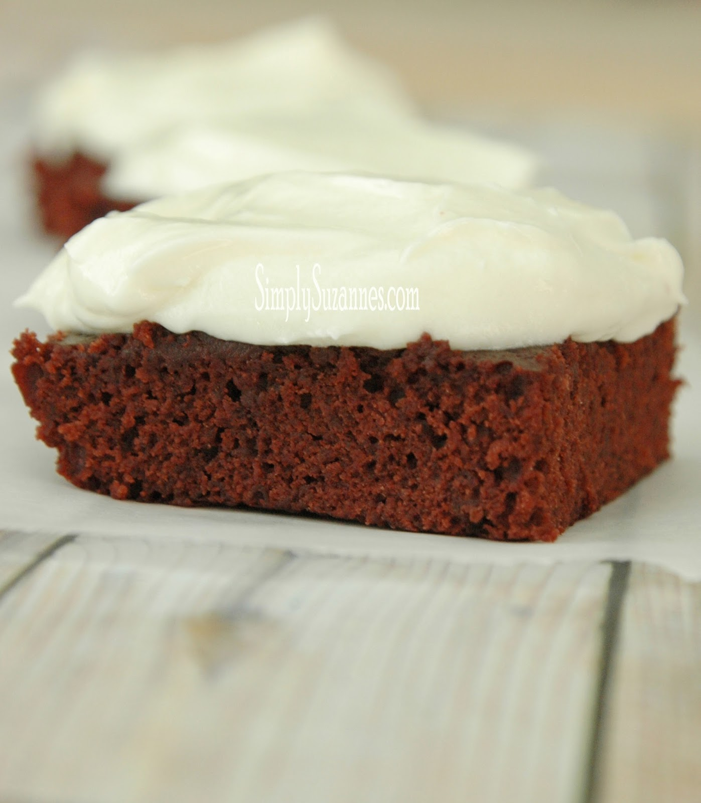 Simply Suzanne's AT HOME: red velvet brownies with cream ...