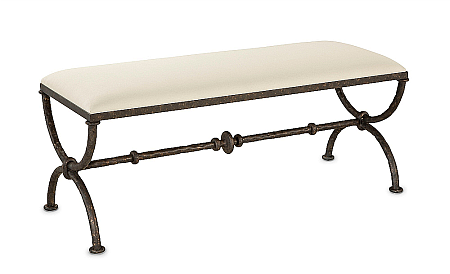 iron bench with cushion top