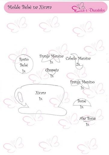 Molde lembrancinha ou convite para chá de bebê