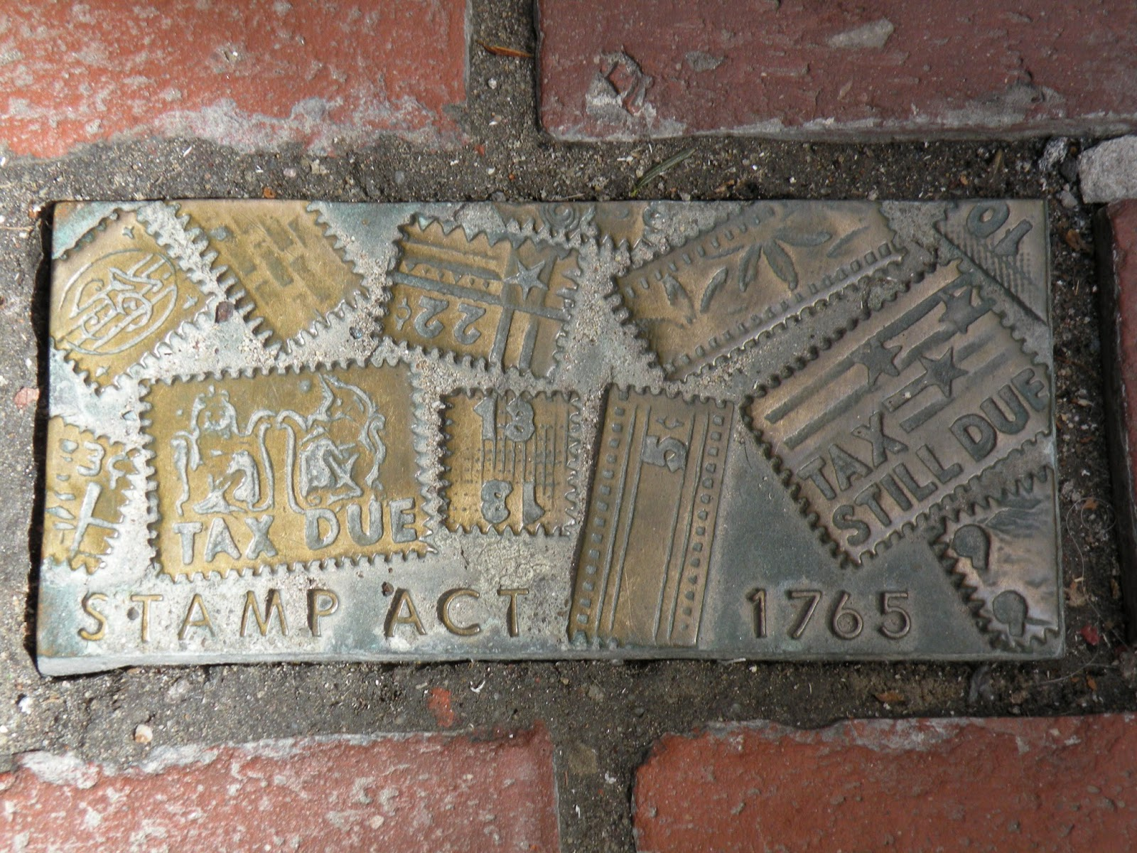 Stamp Act 1765 bronze brick Monument