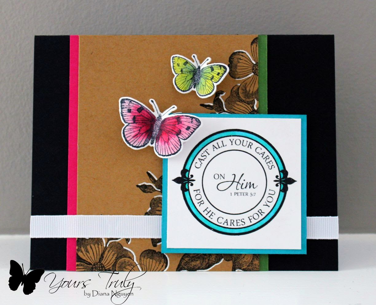 Diana Nguyen, butterflies, Hero Arts, Verve, scripture, card