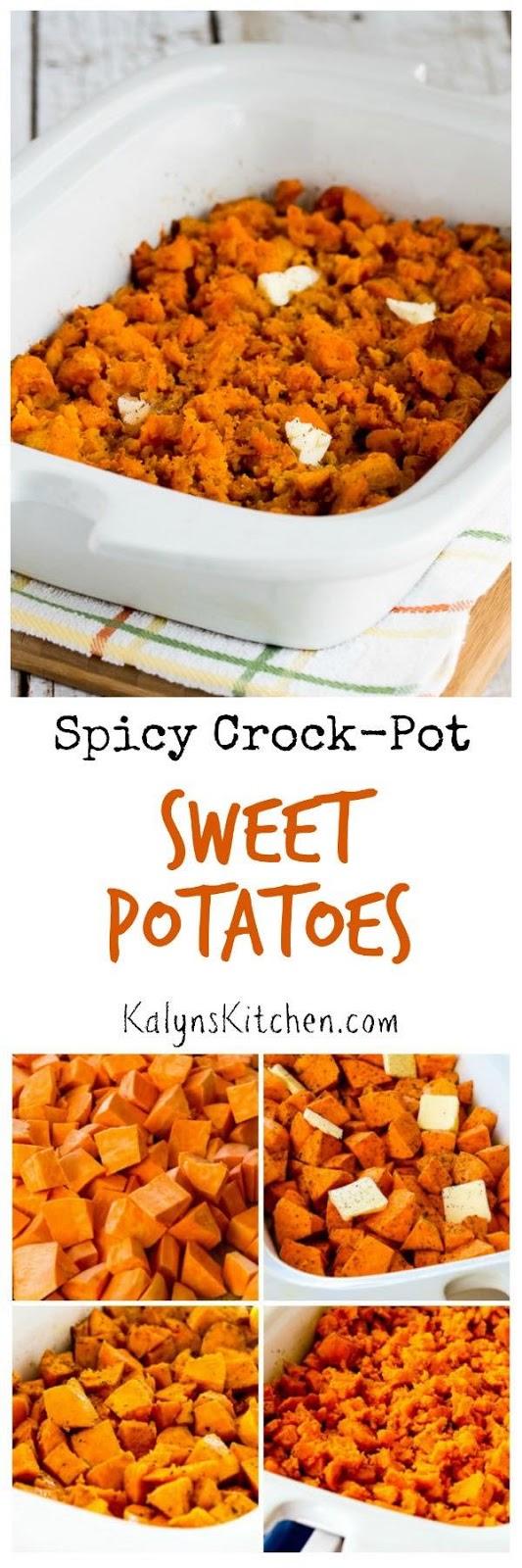 Spicy Crockpot Sweet Potatoes found on KalynsKitchen.com
