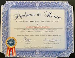 """Diploma de Honor por el Diseño del Brochure """"Saludo a las Amércias"""" New York Abril 27, 2019"""