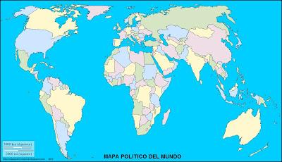 Mapa mudo, mapa politico, mapamundi
