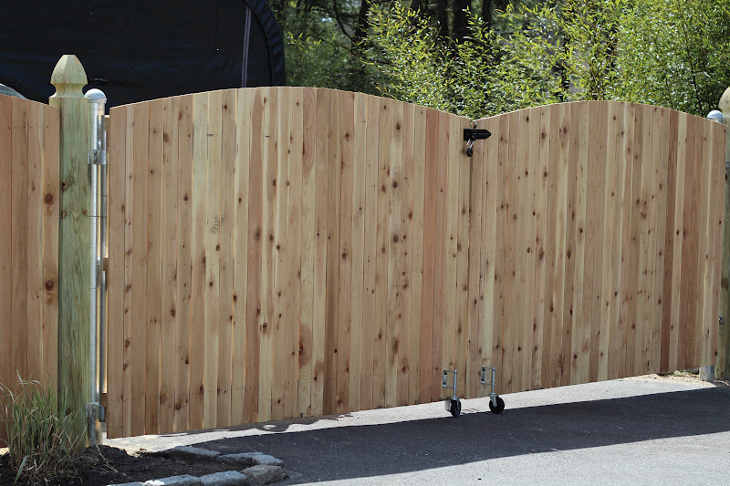 Pine tree home wood fence gate with galvanized frame for How to build a driveway gate