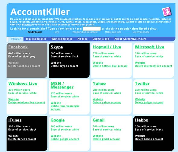 delet internet account with account killer