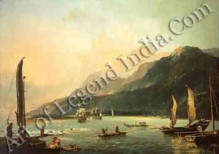 With its wonderful natural harbour at Matavai Bay, the island of Tahiti became the centre for early voyages to Polynesia. This picture, painted in 1773 by William Hodges, Captain Cook's artist on his second voyage, shows Cook's ships, HMS Resolution and HMS Adventure in the bay.