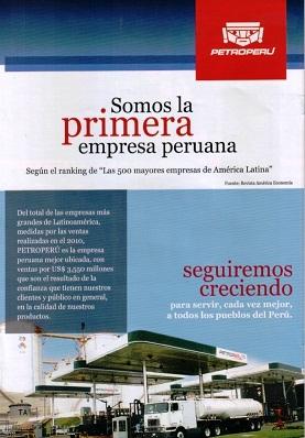 """PETROPERU: 1º en Ranking """"Las 500 mayores empresas en América Latina - 2011"""""""
