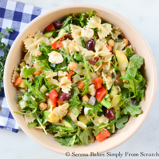 Mediterranean Pasta Salad- 17 Healthy Salads That Don't Taste Like Rabbit Food!  serenabakessimplyfromscratch.com