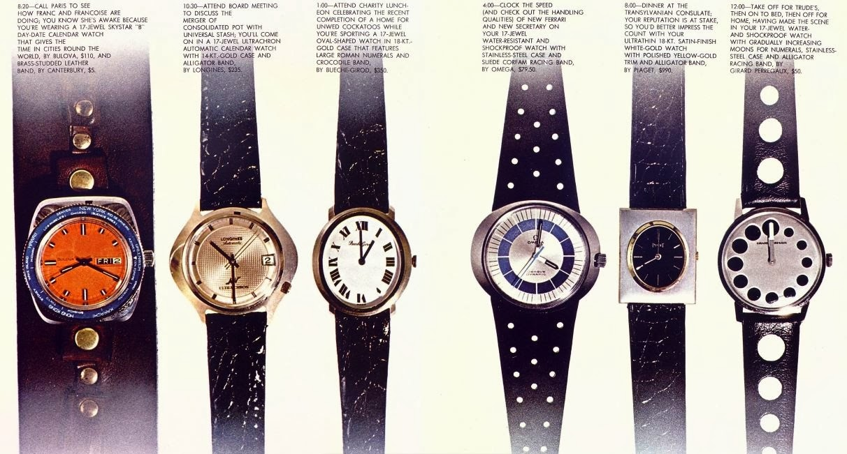 Watches of the era. Bulova, Longines, Bueche-Girod, Omega, Piaget, Girard Perregaux. Playboy, August 1969.