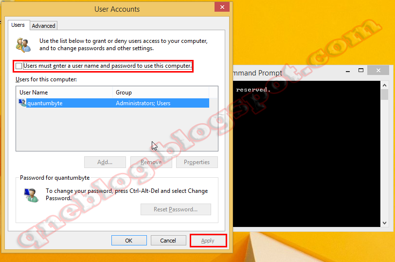 How to Remove The Windows 8 Password Screen