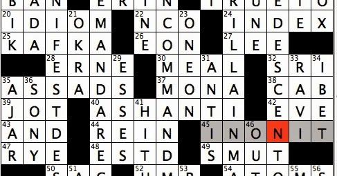 Rex Parker Does The NYT Crossword Puzzle Amerika Novelist