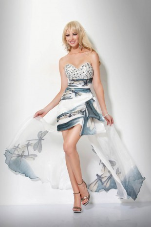 strapless sweetheart printed high low prom dress
