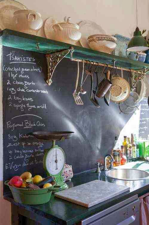 Farba tablicowa na ścianie w kuchni