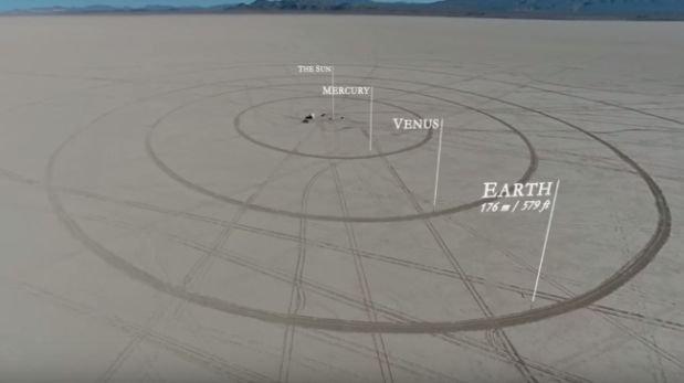 Crean maqueta a escala del Sistema Solar en 11 km de desierto