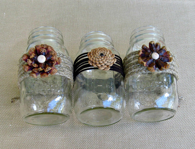 Pine Cone Flower Mason Jars