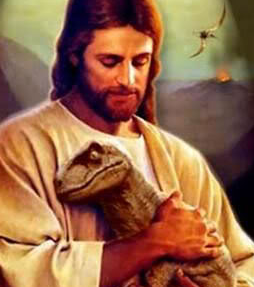 Picture of Jesus holding a pet Velociraptor at the Creation Museum.