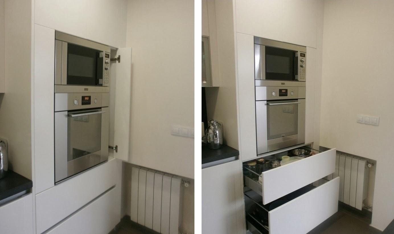 Granito negro y cocina blanca sobria y siempre actual - Microondas encimera ...