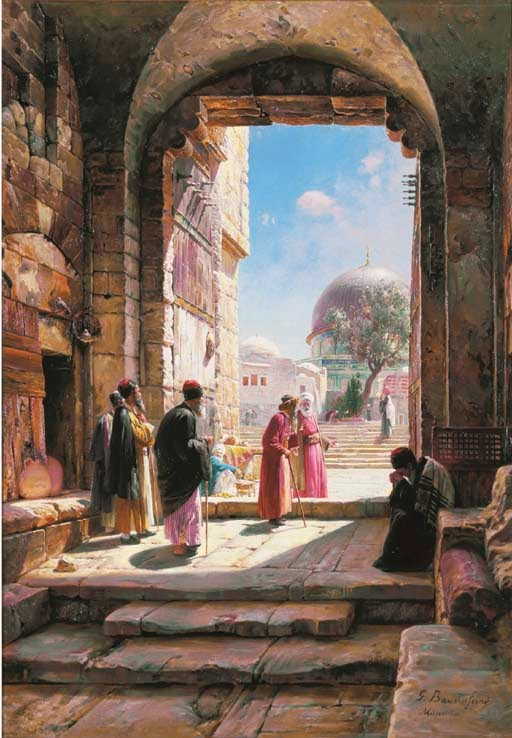 Gustav Bauernfeind S Painting Of The Temple Mount Entrance