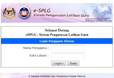 Maklumat Kursus secara online e-SPLG sebelum 28 September 2012
