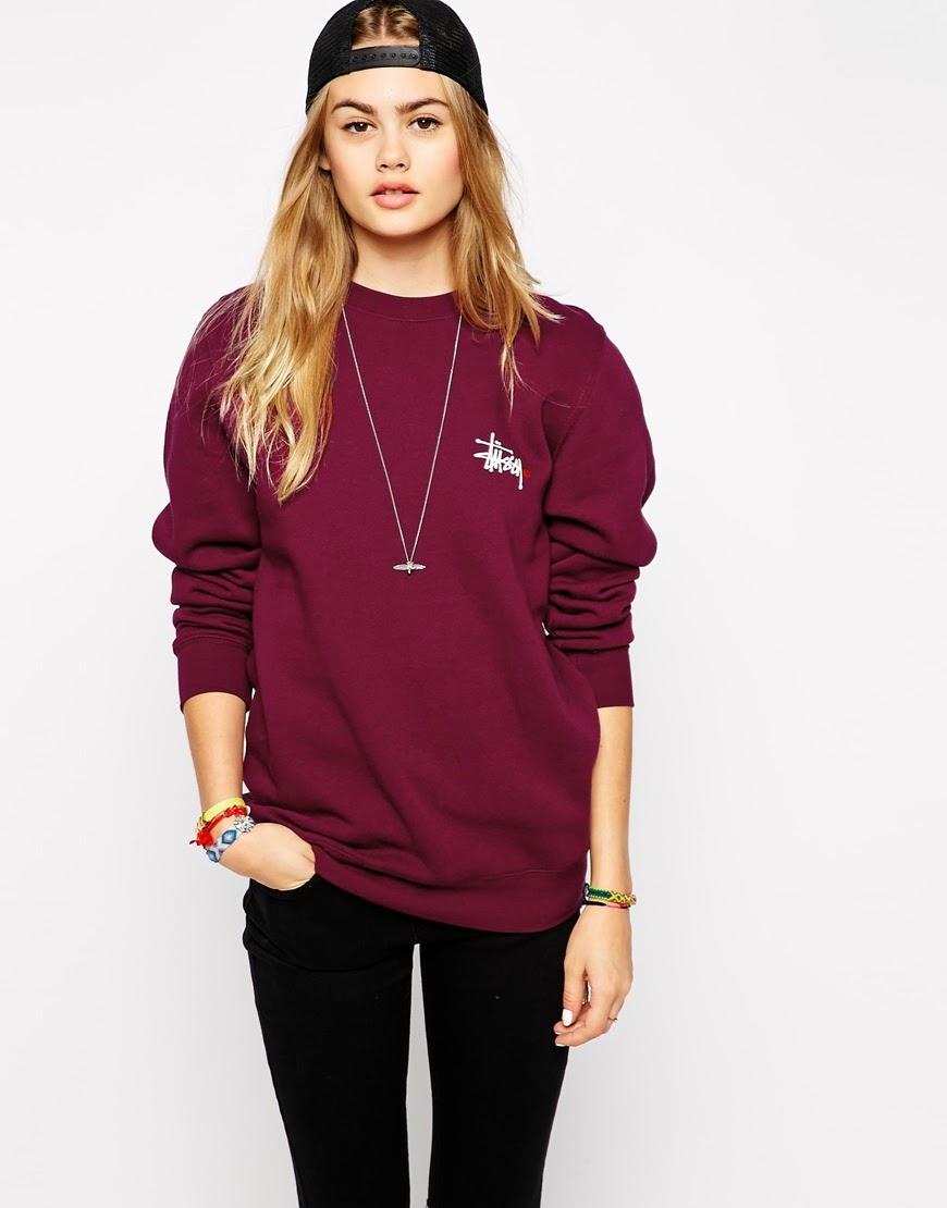 burgundy stussy jumper