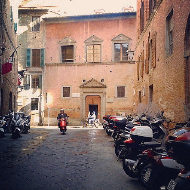 Vespa parking in Siena's town center