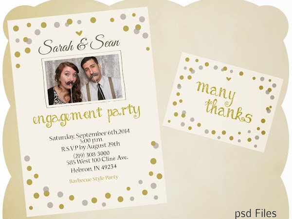 Bokeh Engagement Invitation with Thank You Card