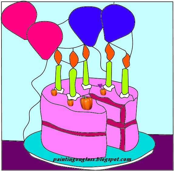 Stained Glass Birthday Cake Pattern Painting On Glass